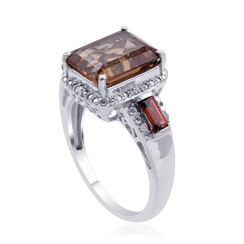 Alexite (Oct 4.50 Ct), Mozambique Garnet and Diamond Ring in Platinum Overlay Sterling Silver 5.000 Ct.
