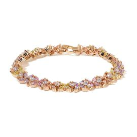 AAA Simulated Multi Colour Diamond Bracelet (Size 7.5) in Yellow Gold Tone