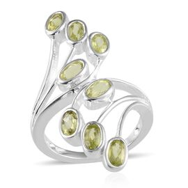 AA Hebei Peridot (Ovl) Crossover Ring in Sterling Silver 2.000 Ct.