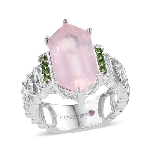 Stefy Rose Quartz, Russian Diopside and Pink Sapphire Ring in Platinum Overlay Sterling Silver 7.250 Ct.