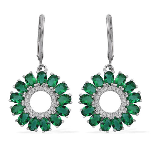 ELANZA AAA Simulated Green Tourmaline (Ovl), Simulated Diamond Lever Back Earrings in Rhodium Plated Sterling Silver
