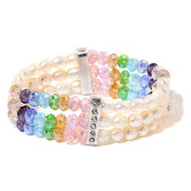Fresh Water White Pearl, White Austrian Crystal and Simulated Multi Colour Diamond Stretchable Bracelet (Size 7.5) in Silver Tone
