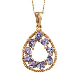 Tanzanite (Pear) Pendant With Chain in 14K Gold Overlay Sterling Silver 1.250 Ct.