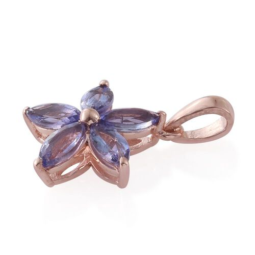 Tanzanite 1.15 Ct Silver Flower Star Pendant in Rose Gold Overlay