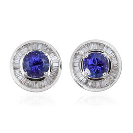 ILIANA 18K White Gold AAA Tanzanite, Diamond SI G-H Stud Earrings 1.750 Carat with Screw Back.