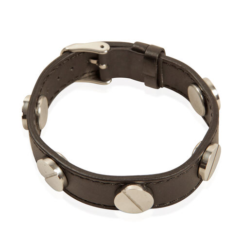 Black Studded Leather Bracelet (Size 8.5) in Stainless Steel