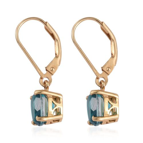 Capri Blue Quartz (Ovl) Lever Back Earrings in 14K Gold Overlay Sterling Silver 3.000 Ct.