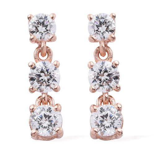 J Francis - Rose Gold Overlay Sterling Silver (Rnd) Earrings (with Push Back) Made with SWAROVSKI ZIRCONIA