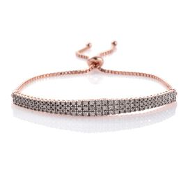 Designer Inspired Diamond (Rnd) Adjustable Bracelet (Size 6 to 8.25) in Rose Gold Overlay Sterling Silver 1.000 Ct.