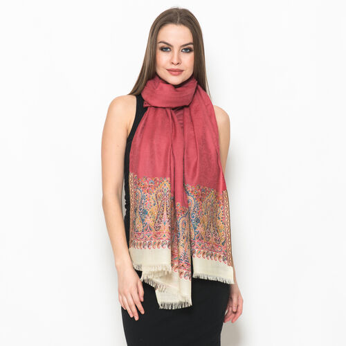 Designer Inspired 100% Merino Wool Multi Colour Paisley Embroidered Pink Colour Scarf (Size 200x70 Cm)