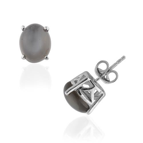 SriLankan Titanium Moonstone (4.25 Ct) Platinum Overlay Sterling Silver Earring