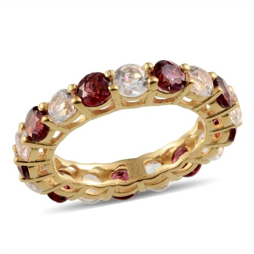 Rhodolite Garnet (Rnd), White Topaz Full Eternity Ring in Yellow Gold Overlay Sterling Silver 5.500 Ct.