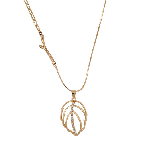 White Austrian Crystal and Simulated Cats Eye Leaf Pendant With Chain