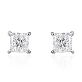 RHAPSODY 950 Platinum 0.92 Carat Princess Cut Diamond Stud Earrings