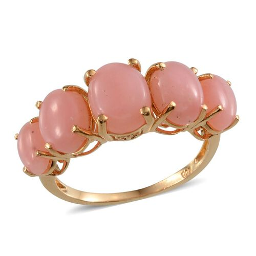 Peruvian Pink Opal (Ovl 1.15 Ct) 5 Stone Ring in Yellow Gold Overlay Sterling Silver 4.400 Ct