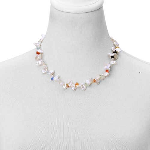 One Off-Keshi Pearl and Agate Necklace (Size 18) in Stainless Steel