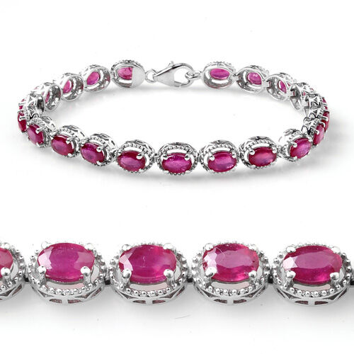 African Ruby (11.50 Ct) Platinum Overlay Sterling Silver Bracelet (Size 7.5)