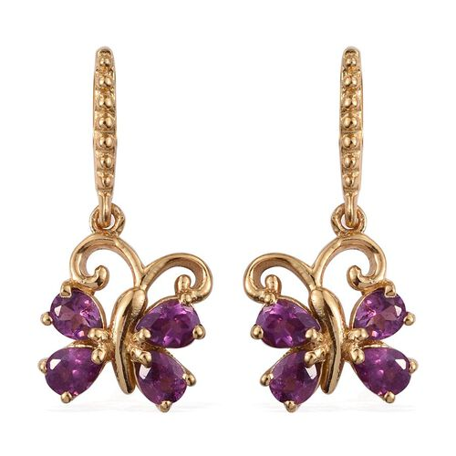 Rare Mozambique Grape Colour Garnet (Pear) Butterfly Earrings (with Push Back) in 14K Gold Overlay Sterling Silver 1.500 Ct.