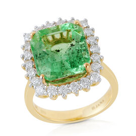 ILIANA 18K Y Gold AAAA Rare Colour Colombian Emerald (Oct 9.20 Ct), Diamond (SI/G-H) Ring 10.360 Cts.