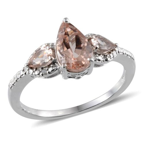 Marropino Morganite (Pear 1.05 Ct), Diamond Ring in Platinum Overlay Sterling Silver 1.500 Ct.