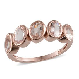 Marropino Morganite (Ovl) 5 Stone Ring in Rose Gold Overlay Sterling Silver 1.750 Ct.