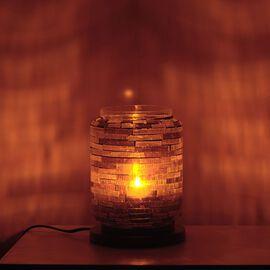 Home Decor - Handicraft Mosaic Glass Lamp in Two Tone Purple