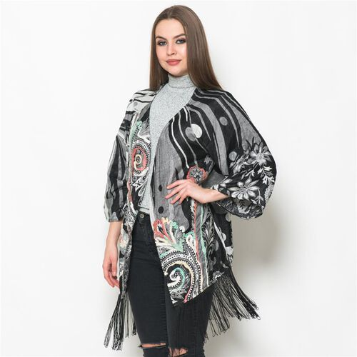 Floral Pattern Black, White and Pink Colour Kimono (Size 65x55 Cm)