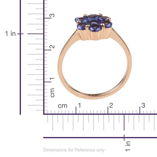 ILIANA 18K Y Gold AAA Tanzanite (Rnd 0.50 Ct) 7 Stone Floral Ring 2.250 Ct.