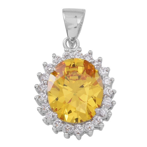 ELANZA AAA Simulated Citrine (Ovl), White Simulated Diamond Pendant in Rhodium Plated Sterling Silver