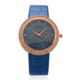 STRADA Japanese Movement Blue Dial White Austrian Crystal Water Resistant Watch in Rose Gold Tone with Croc Embossed Blue Strap