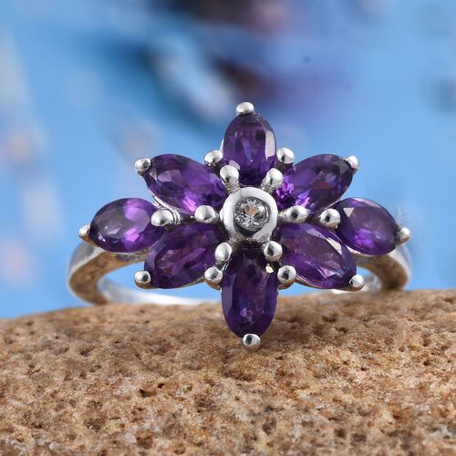 African Amethyst (Rnd), White Topaz Ring in Platinum Overlay Sterling Silver 1.520 Ct.