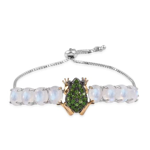 GP Russian Diopside (Rnd), Rainbow Moonstone and Kanchanaburi Blue Sapphire Frog Adjustable Bracelet (Size 9) in Platinum and Yellow Gold Overlay Sterling Silver 18.150 Ct.