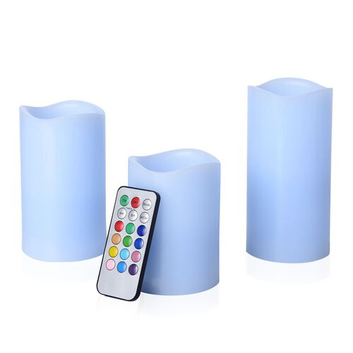 Set of 3 - 12 Colour Changing LED Flameless Wax Blowing Blue Colour Candles with a Remote Control (Size 7.5x10/ 7.5x12.5/ 7.5x15 cm)