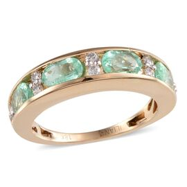 ILIANA 18K Y Gold Boyaca Colombian Emerald (Ovl), Diamond Half Eternity Band Ring 2.050 Ct.