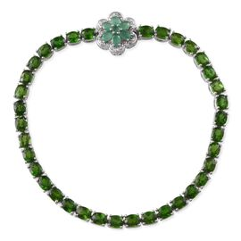 Russian Diopside (Ovl), Kagem Zambian Emerald and White Topaz Bracelet in Platinum Overlay Sterling Silver (Size 8) 14.350 Ct.