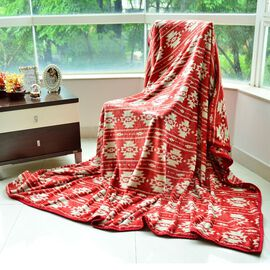 Superfine Microfibre Printed Flannel Blanket Red with Knitted Border (Size 230x185 Cm)