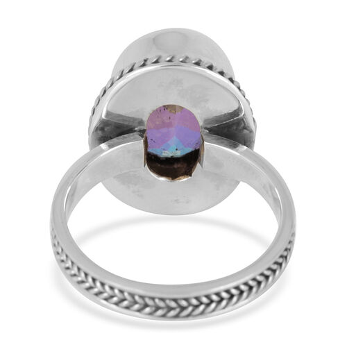 Royal Bali Collection Mercury Mystic Topaz (Ovl) Solitaire Ring in Platinum Overlay Sterling Silver 7.000 Ct.