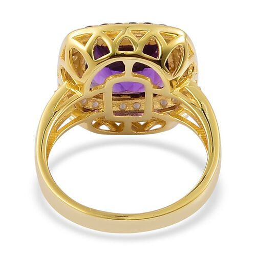 African Amethyst (Cush 4.25 Ct), Brazilian Smoky Quartz and White Zircon Ring in Yellow Gold Overlay Sterling Silver 4.970 Ct.