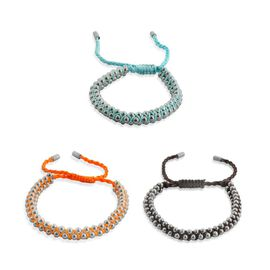 Set of 3 - Black, Blue and Orange Bracelets on Silk Cord in Stainless Steel (Adjustable)