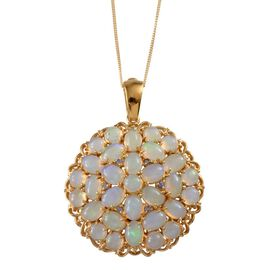 Ethiopian Welo Opal (Ovl), Tanzanite Cluster Pendant With Chain in 14K Gold Overlay Sterling Silver 11.250 Ct.