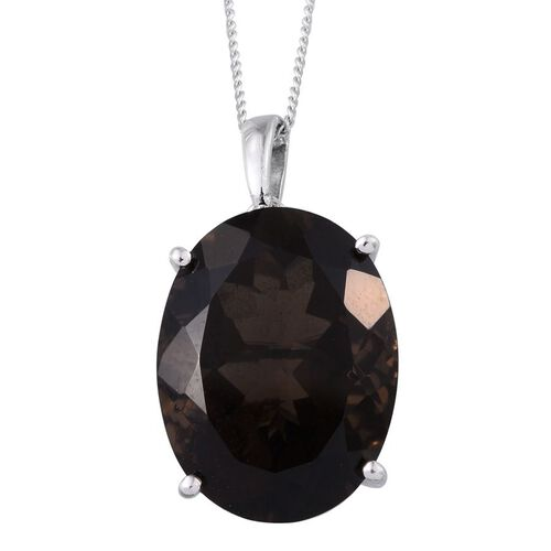 Rare 100 Facet Brazilian Smoky Quartz (Ovl) Pendant With Chain in Platinum Overlay Sterling Silver 15.500 Ct.
