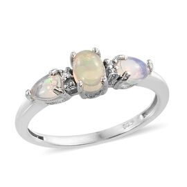 AA Ethiopian Welo Opal (Ovl), Diamond Ring in Platinum Overlay Sterling Silver 0.660 Ct.