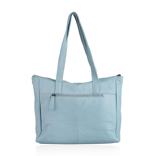 Set Of Two -Marie Full Grain Genuine Leather Tiffany Blue Tote Bag with RFID Pouch ( 31x9x28cm and 20x13cm)