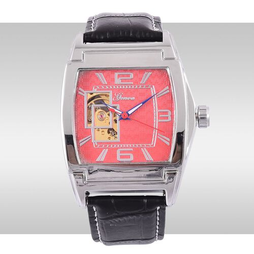 GENOA Automatic Skeleton Red Dial Water Resistant Watch in Silver Tone with Stainless Steel Back and Black Strap