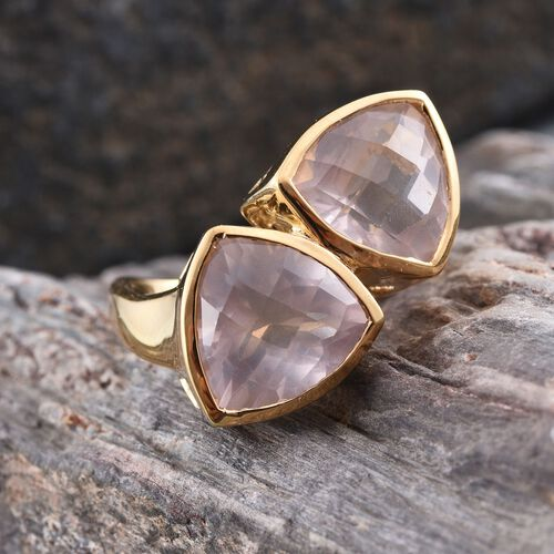 Checkerboard Cut Rose Quartz (Trl) Ring in 14K Gold Overlay Sterling Silver 10.500 Ct.