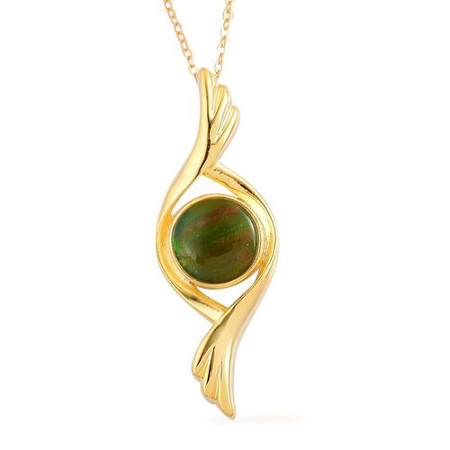 Canadian Ammolite (Rnd) Solitaire Pendant With Chain in Yellow Gold Overlay Sterling Silver 2.000 Ct.