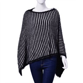 Black and Grey Colour Stripe Pattern Poncho (Free Size)