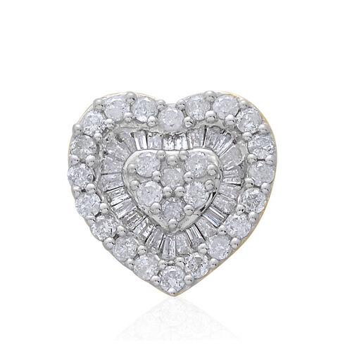 9K Yellow Gold SGL Certified Diamond (Rnd) (I3/G-H) Heart Pendant 0.500 Ct.