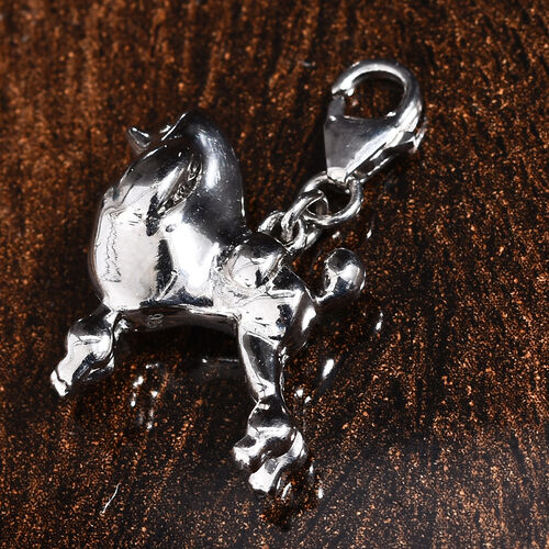 Platinum Overlay Sterling Silver Poodal Dog Charm, Silver wt 5.48 Gms.