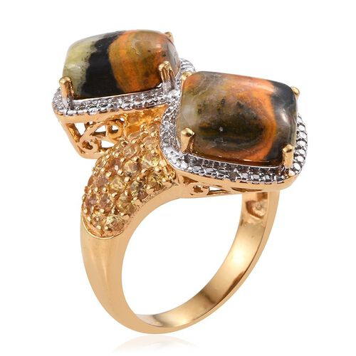 Bumble Bee Jasper (Cush), Yellow Sapphire and White Diamond Crossover Ring in 14K Gold Overlay Sterling Silver 11.770 Ct.